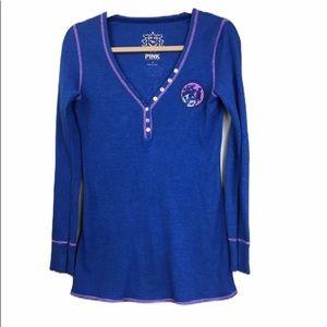 Pink Victoria's Secret Blue Thermal Henley Sz S